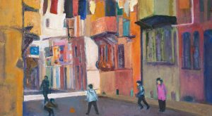 Street in Istanbul: oil on board, from a photograph in The Guardian 2012, photographer unknown