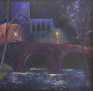 Cathedral at night: oil on board