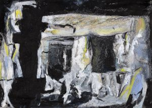 Quarry Caves, Dorset (sketch): oil, charcoal and pastel on paper, from a photograph by Anthony Houghton (2003)