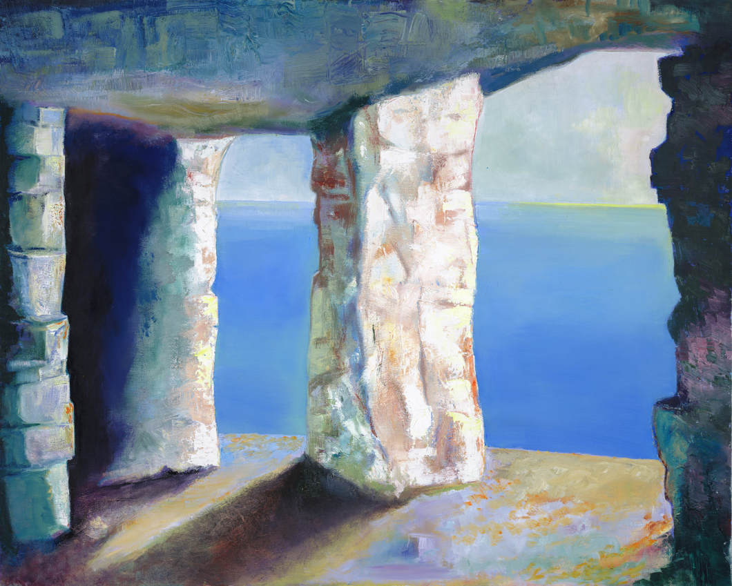 Quarry Caves, Dorset: oil on canvas
